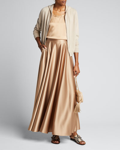 Ambria Long Satin Skirt