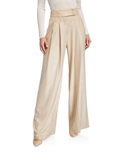 Elijah Pleated High-Rise Pants