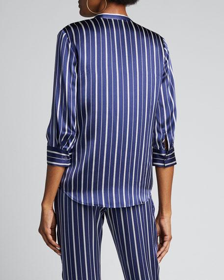 Aoki Stripe Band-Collar Blouse