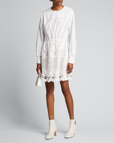 Crewneck Poplin Dress w/ Lace Inset
