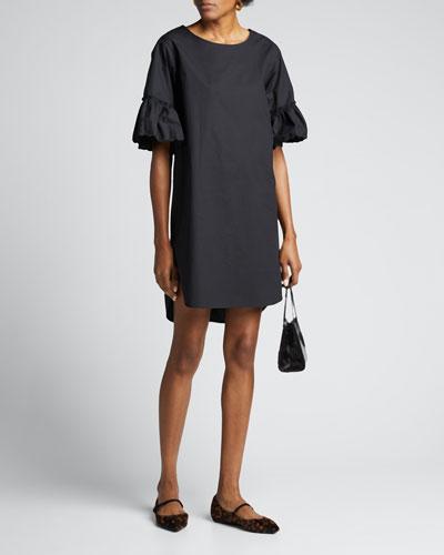 Crewneck Bell-Sleeve Poplin Tee Dress