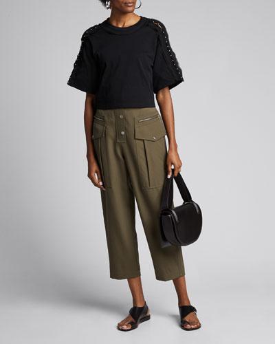 Embellished-Sleeve Crop T-Shirt