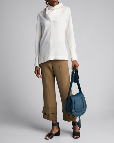 Straight-Leg Crepe Trousers with Belted Cuffs