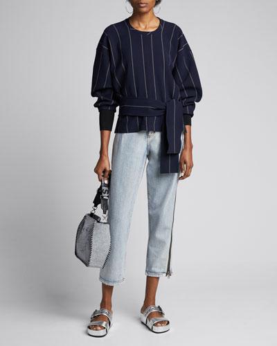 Long-Sleeve Striped Pullover w/ Belt