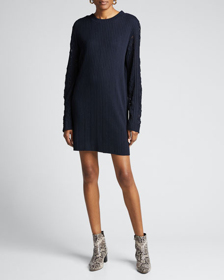 Ribbed Long-Sleeve Shift Dress
