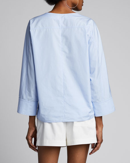 Snap-Cuff Poplin Long-Sleeve Blouse