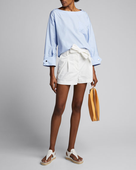 Image 1 of 1: Snap-Cuff Poplin Long-Sleeve Blouse