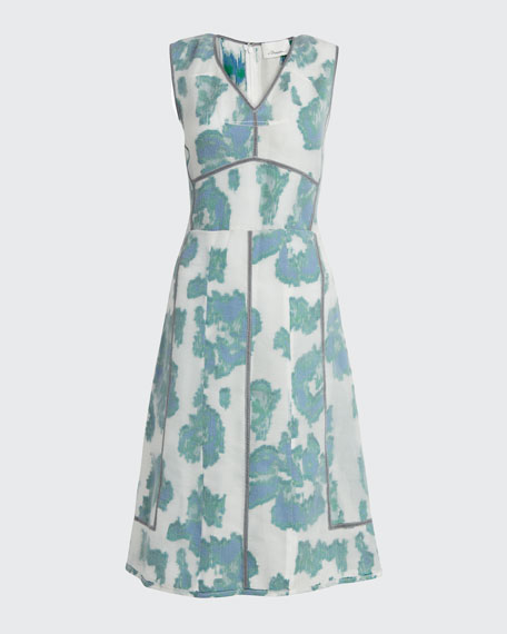 Abstract Daisy Fil Coupe Midi Dress