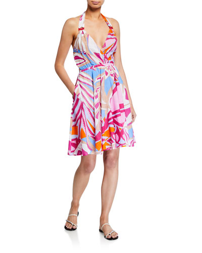 Printed Halter Coverup Dress