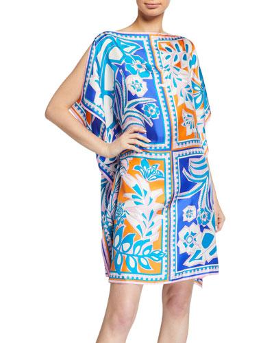 Floral-Print Short Silk Dress
