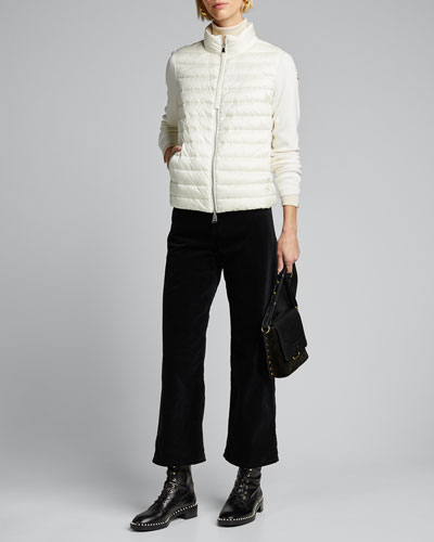 Embroidered Down-Knit Combo Sweater