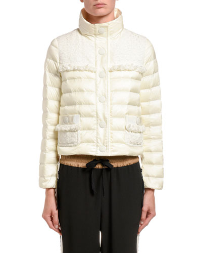 Lunaire Frilly-Trim Cropped Puffer Jacket