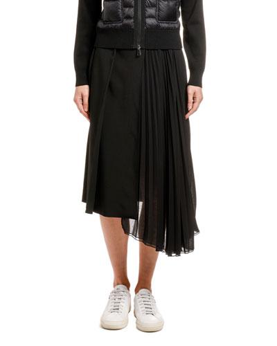 Pleated Asymmetric A-Line Skirt