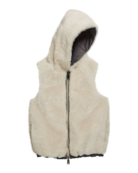 Girl's Reversible Nylon Fur Hooded Vest, Size 6