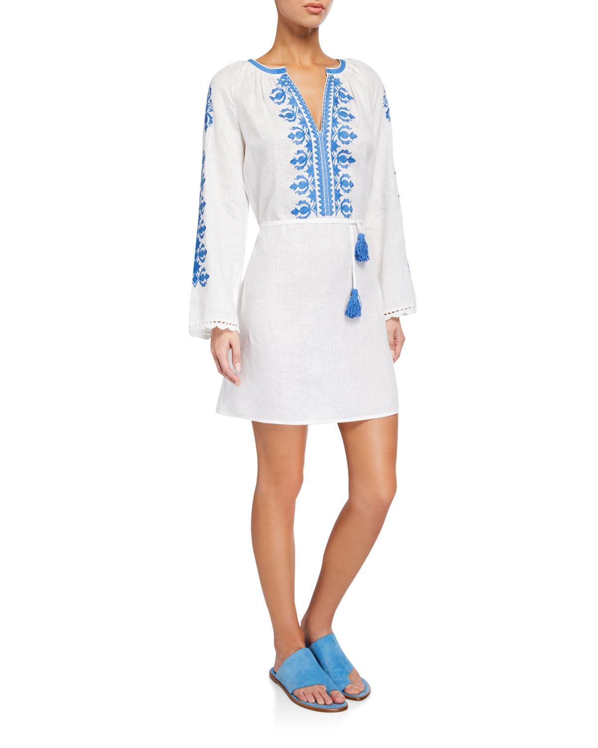 Tory Burch Dress Embroidered Linen Long-Sleeve Coverup Dress