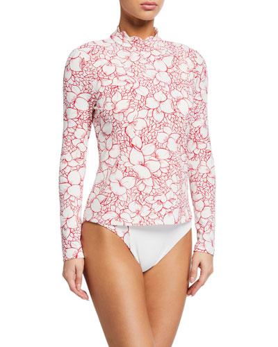 Scalloped Floral Rashguard Swim Top