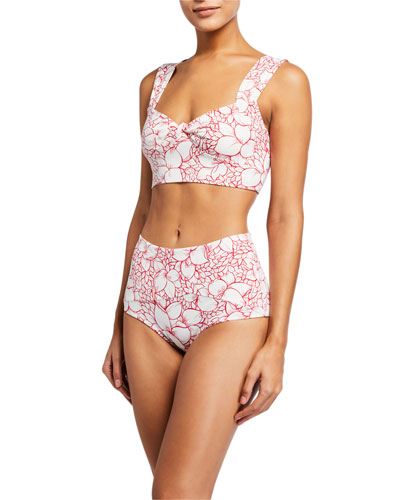 Lehi Floral-Print Bikini Top