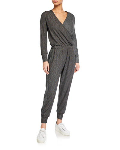 Metallic Luxe Colorblock Long-Sleeve Waffle Jumpsuit