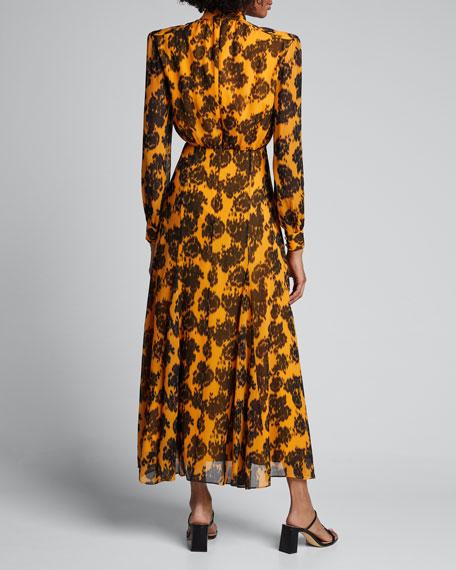 Jacqui Printed Blouson-Sleeve Tiered Midi Dress
