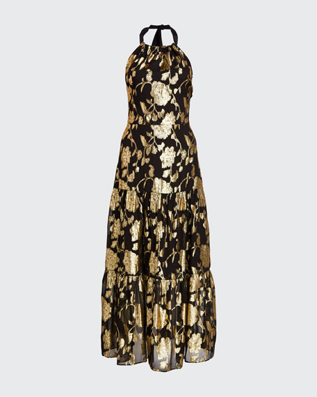 Metallic Floral Chiffon Tiered Halter Dress