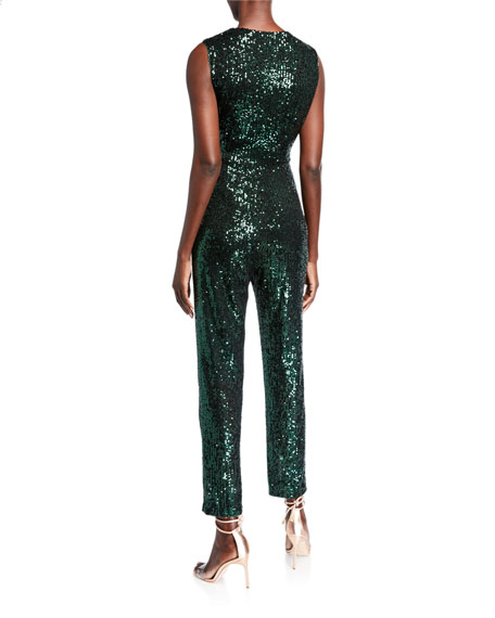 Stretch Micro Sequins V-Neck Sleeveless Tie Jumpsuit