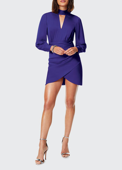 Angela Mock-Neck Long-Sleeve Short Dress