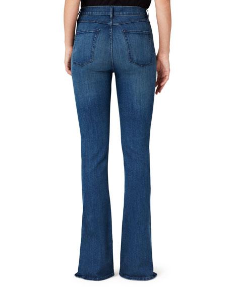 High-Rise Slim Bell Boot-Cut Jeans w/ Split Hem