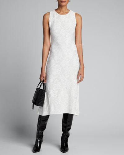 Sleeveless Stretch Lace Midi Dress