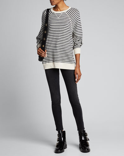The Slouch Striped Raglan-Sleeve Sweatshirt