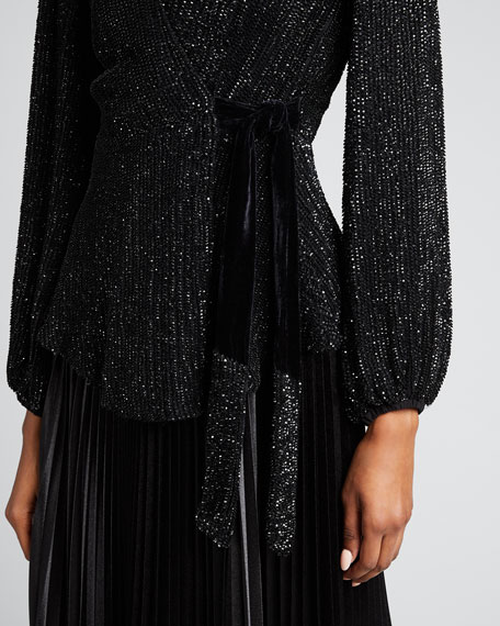 Bette Sequined Wrap Blouse