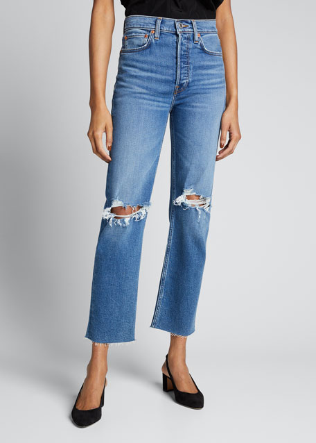High-Rise Stovepipe Distressed Jeans with Raw-Edge Hem