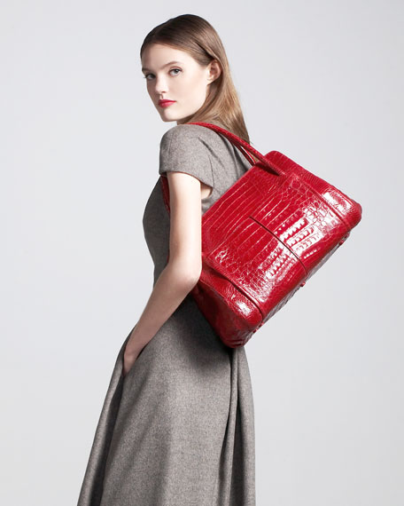 Linda Crocodile Bag, Cherry