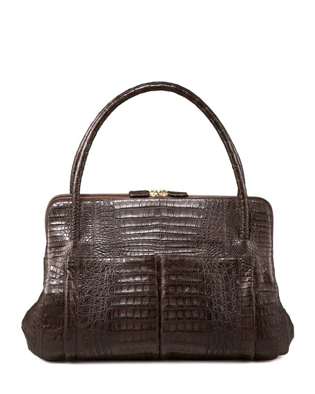 Linda Crocodile Bag, Brown