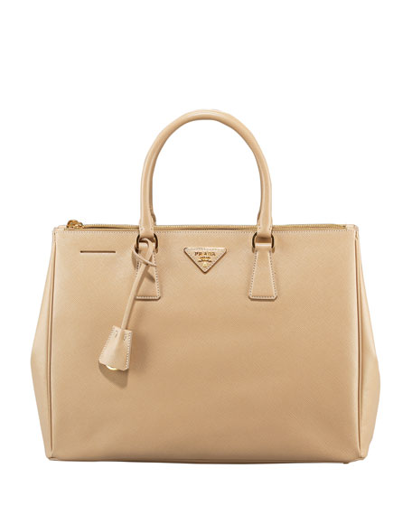 Saffiano Lux Top Handle Tote, Sand (Sabbia)