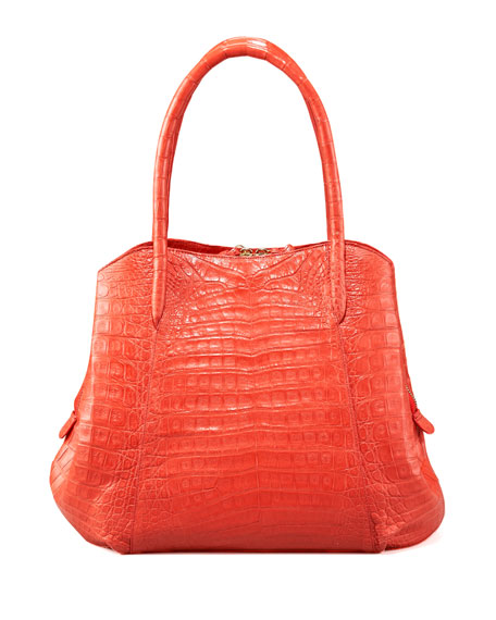 Zip-Top Crocodile Handbag