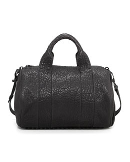 Rocco Stud-Bottom Satchel Bag, Black/Nickel