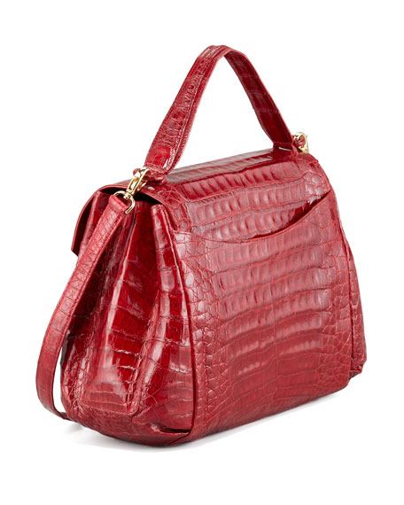 Crocodile Flap-Front Satchel Bag