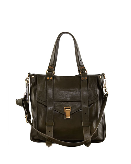 PS1 Leather Tote Bag, Military