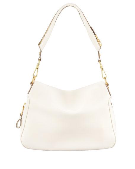 Jennifer Leather Shoulder Bag, Ivory