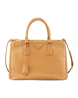 Saffiano Double-Zip Executive Tote, Brown (Caramel)