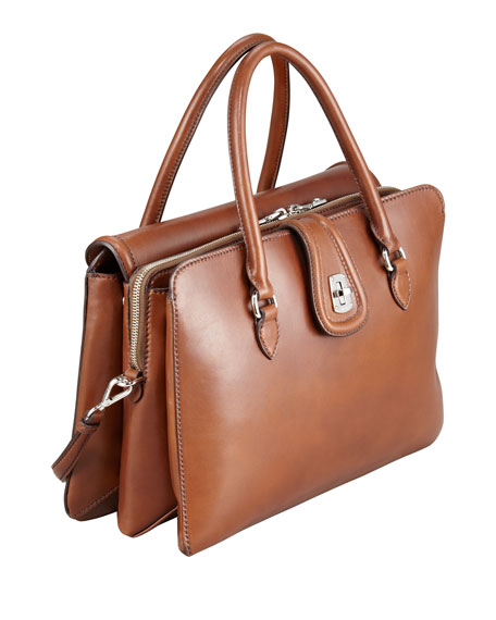 Three-Pocket Leather Satchel Bag