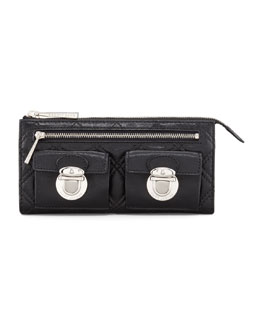 Marc Jacobs Quilted Zip Clutch Bag, Black