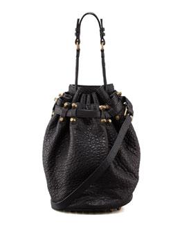 Diego Bucket Bag, Black/Rose Golden
