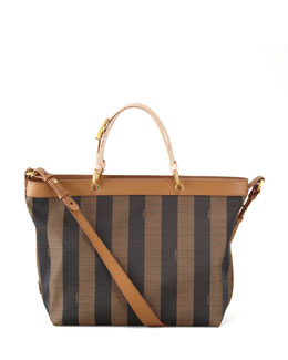 Fendi Pequin Shoulder Strap Tote Bag, Vachetta