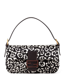 Fendi Cheetah-Print Calf Fur Baguette
