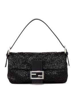 Fendi Beaded Shoulder Baguette, Black