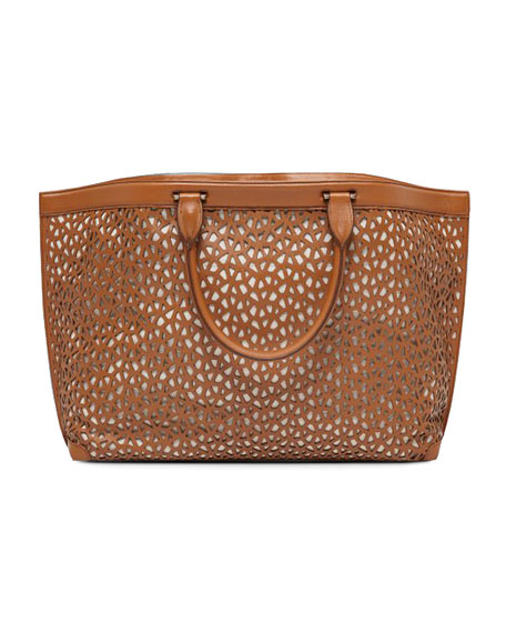 Ai Laser-Cut Leather Tote, Cuoio
