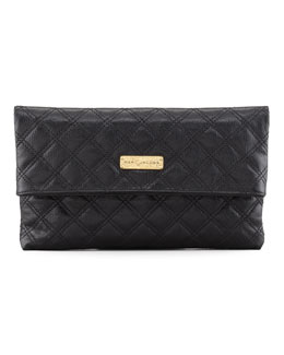 Marc Jacobs Eugenia Large Clutch Bag, Black/Brass