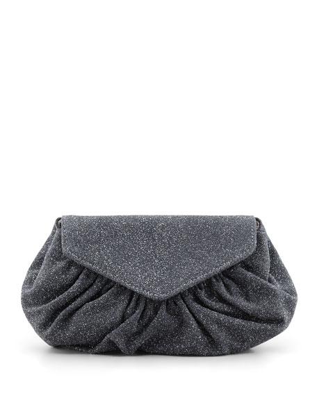 Diana Glittery Suede Pouchette Clutch Bag, Charcoal
