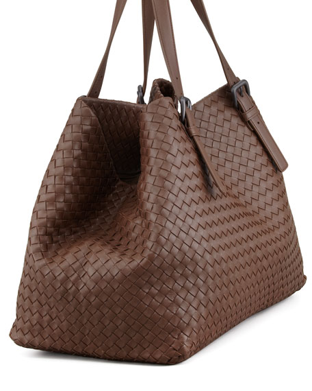 Woven Leather Large Tote Bag, Brown